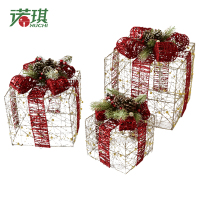 NUCHI Christmas Three Sets Of Christmas Scene Ornament Glitter Christmas Gift Box Ornament Party Home Decoration