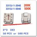 JASNPROSMA 50 шт. 500 шт. 3313J-1-204E 3313J-1-504E 3*3 200K 500K Оригинальный Ом SMD  подстроечный потенциометр  разъем 3313J триммер