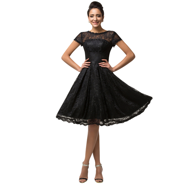 Popular Grace Karin Short Sleeve Black Lace Prom Dresses Knee Length Sexy  Short Party Dress Birthday Homecoming Gown CL007559 53e9d142f147