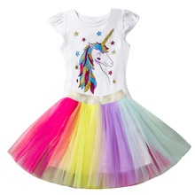 Little Girl Unicorn Costumes For Kids Children Cotton Top Tutu Skirts for Cartoon Dress Vestidos 2-6 years 2019 New