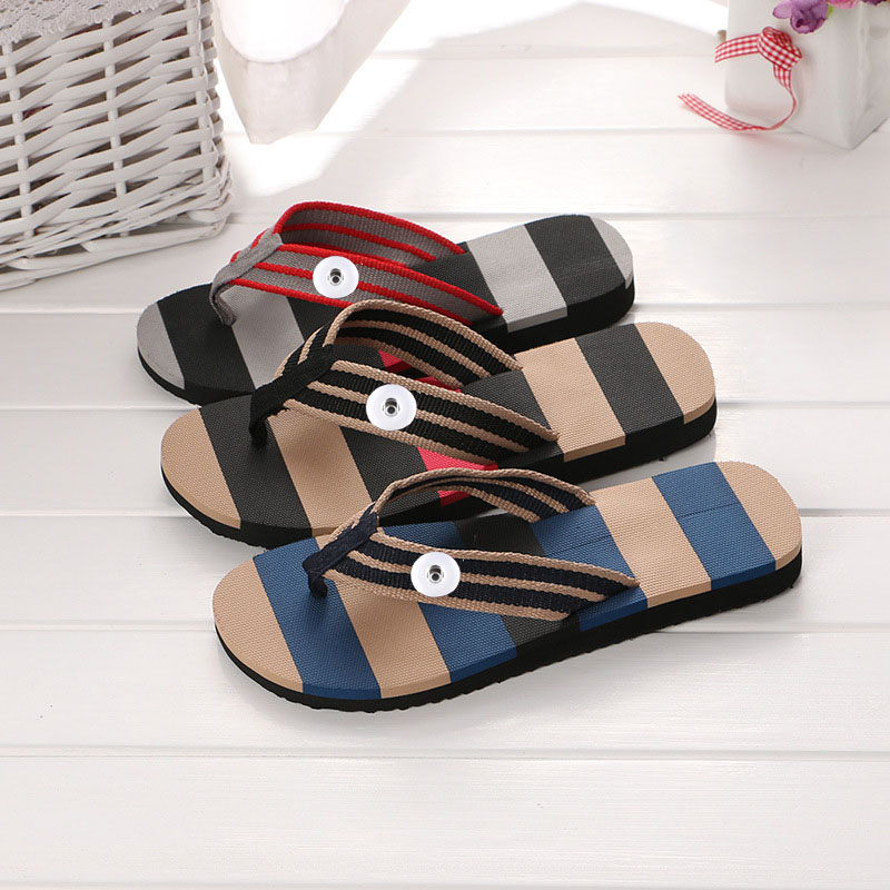 3colors Outdoor New Sandals Summer Beach Flip Flops Men Slippers Male Shoes Sandals lovers Shoes With 18mm Charms Snap Button