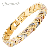 Channah Office Stijl Vrouwen Armband 3-Tone Kleur Magnetische Armbanden Arrow Bangle Mode Dames Sieraden Gift Charm Chain Link