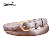 Badinka 2018 New Woman White Black Red Narrow Waist Belt Female Gold Pin Buckle Leather Waistband Belts for Women Dresses Pants