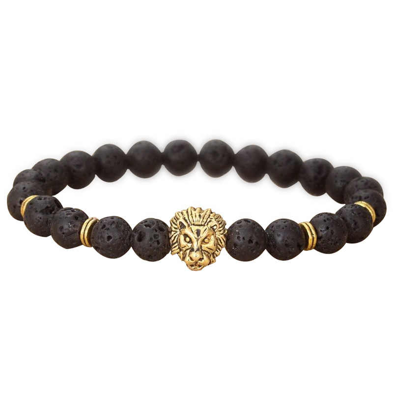 1 шт. модный мужской браслет из черного лавового камня с золотым и серебряным львом из бисера