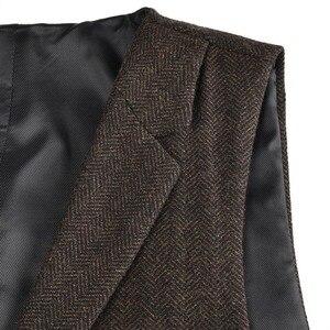 Image 5 - VOBOOM Tweed de Lã Terno Colete para Homens Espinha De Peixe Slim Fit Premium Mistura De Lã Single breasted Colete Marrom Café 018
