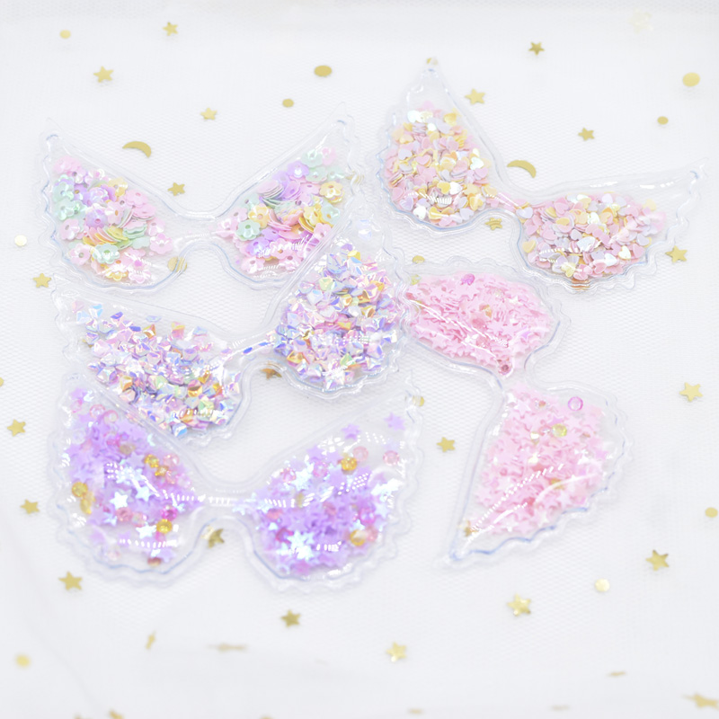 5Pcs 72 48mm Filling Multiple Styles Sequin Appliques Angel wings Patches for DIY Cake Topper Headwear Hair Clips Bow Decor H09 in Patches from Home Garden
