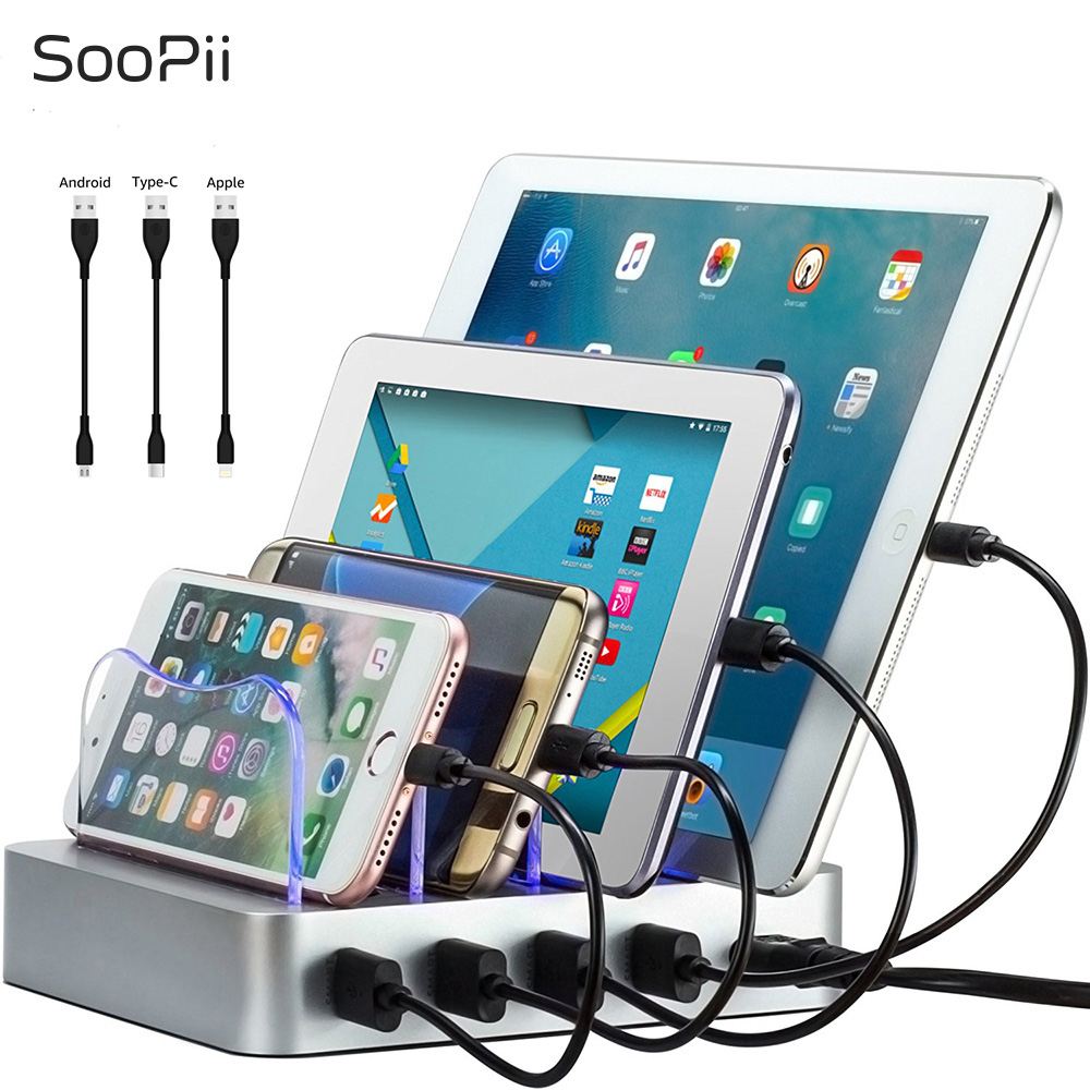 SooPii 4 port usb charger 22W charging station with 3 short cablesSooPii 4 port usb charger 22W charging station with 3 short cables
