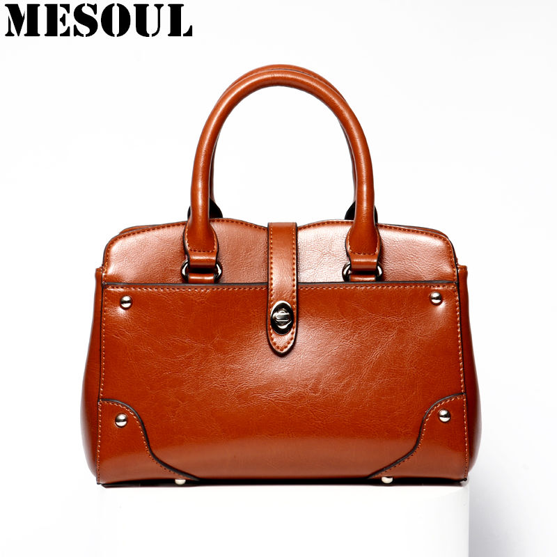 Ladies Hand Bags Famous Brand Female Bags Fashion Brown Cowhide Leather Shoulder Bags Satchels Office Women Leather Handbags 2018 women genuine leather handbags famous brand design tote bags leather ladies shoulder bags fashion luxury female hand bags