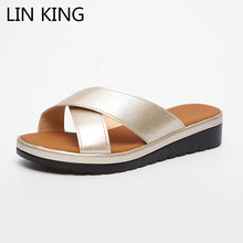 LIN KING Plus Size Solid Women Pu Leather Slippers Thick Sole Summer Platform Shoes Ladies Wedges Shoes Comfortable Girls Slides