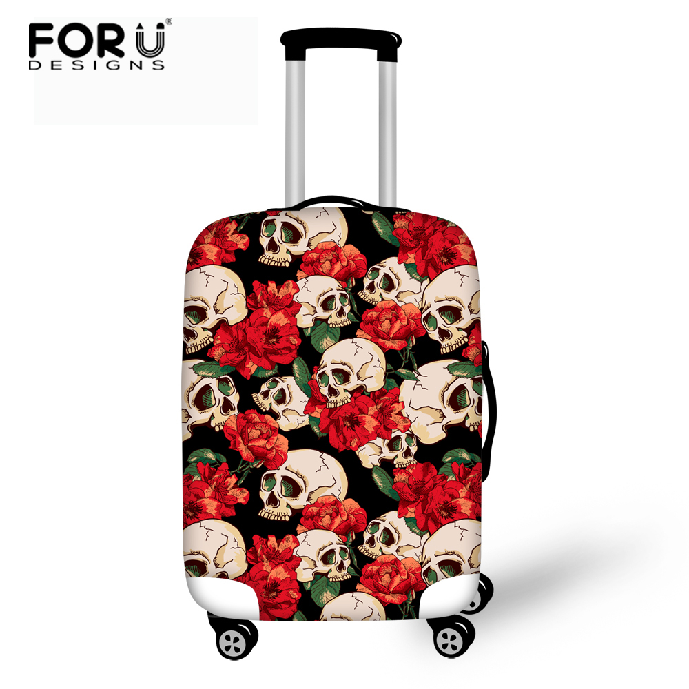 FORUDESIGNS Rose Skull Luggage Protective Cover Alligator Luggage Case Cover for 18-30 inch Trolley Suitcase Elastic Rain Cover