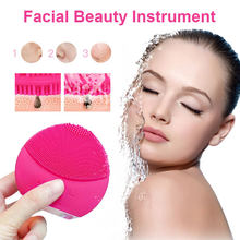 Electric Silicone Facial Cleansing Brush Sonic Vibration Massage USB Smart Ultrasonic Skin Face Deep Cleaner Washing Machine(China)