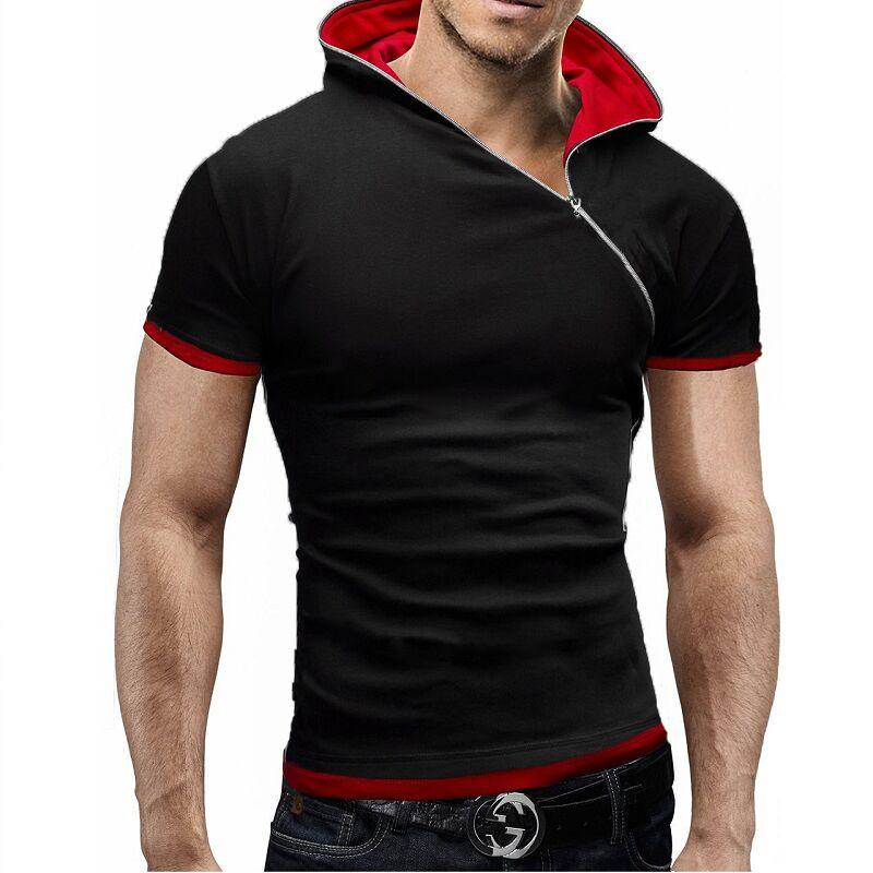 Men Short Sleeve Hoodie Sweatshirt
