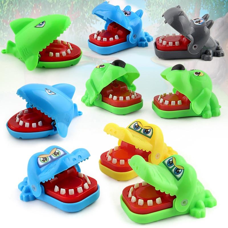 Mini Portable Cute Cartoon Animal Crocodile Shark Hippo Dog Mouth Bite Fingers Tricky Biting Game Children Adult Prank Toy #E