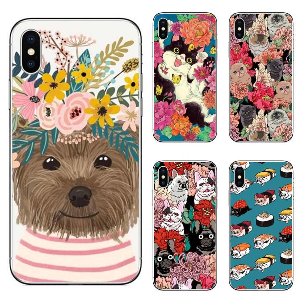 Милый щенок-Мопс Кролик кошка принцесса мяу Французский бульдог Чехлы для телефона чехол для iPhone 5 5S SE 6 6 S Plus 7 7 plus 8 8 Plus X 10