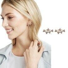 JURAN New Design Big Crystal Brand Luxury Fashion Statement Jewelry Push back Stud Earrings For Women