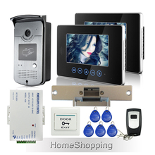 FREE SHIPPING 2 Touch Monitors 7 inch LCD Video Intercom Door Phone Doorbell System RFID Door Camera + E-lock Remote IN STOCK