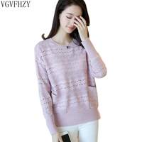 2018 Autumn Winter Knit Women Sweaters Pullovers Female Long Sleeve Top Jumper Pull Femme Tricot Hollow knitting Sweaters LY1061