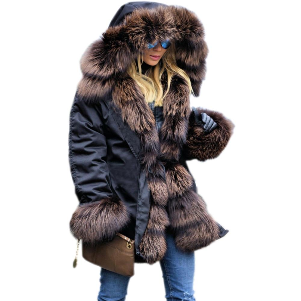 Larga De Espesar Capucha Faux 2018 Roiii Parkas Tamaño Abrigo 3xl S Invierno  Con Chaqueta Mujer Fur ... 0ce542cb97d1