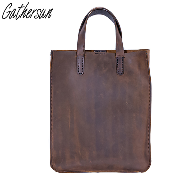 Gathersun брендовая оригинальная Дизайн Винтаж Crazy Horse ручной работы из натуральной кожи Для мужчин Сумки из натуральной кожи Курьерские сумки б