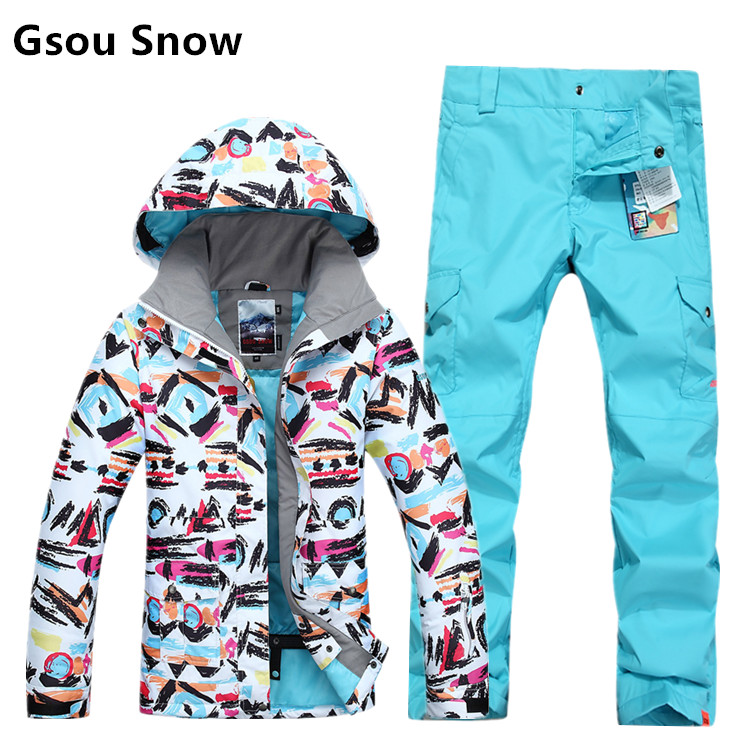 Gsou snow womens ski suit female snowboarding suit ladies single plate double plate skiing suit scrawl ski jakcet and blue pants brand gsou snow technology fabrics women ski suit snowboarding ski jacket women skiing jacket suit jaquetas feminina girls ski