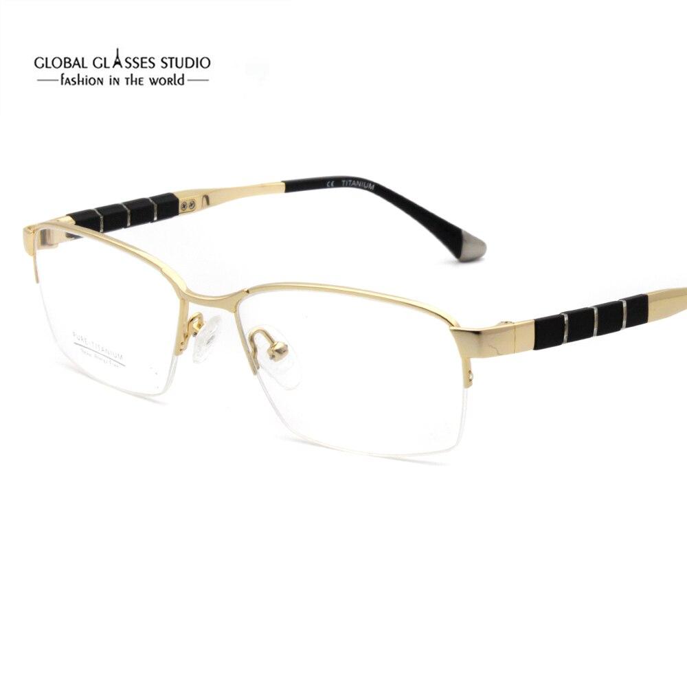 Hommes de mode d'affaires noir or demi jante titane lunettes cadre armature de lunettes lunettes G148