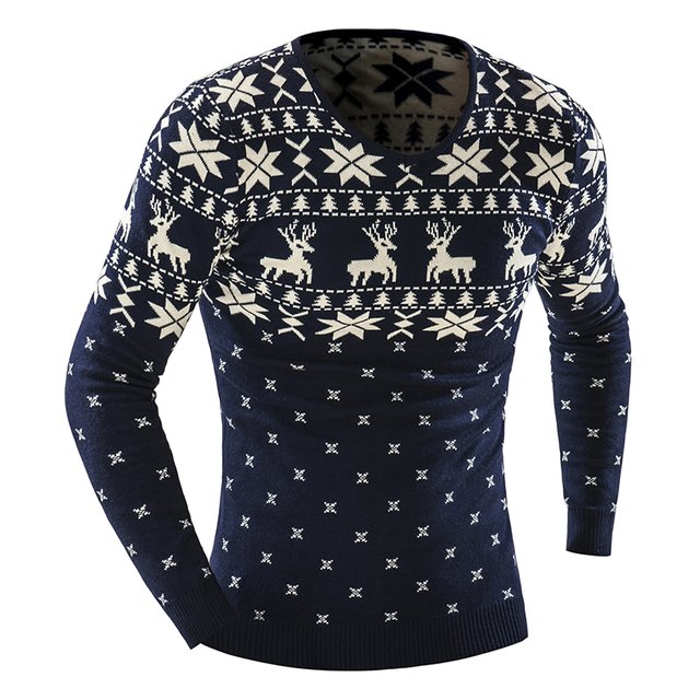 2017 Autumn Winter Pullover Men Christmas  Sweater Jumper V Neck Deer Pattern Slim Fit Knitted Christmas Sweaters Knitwear 1