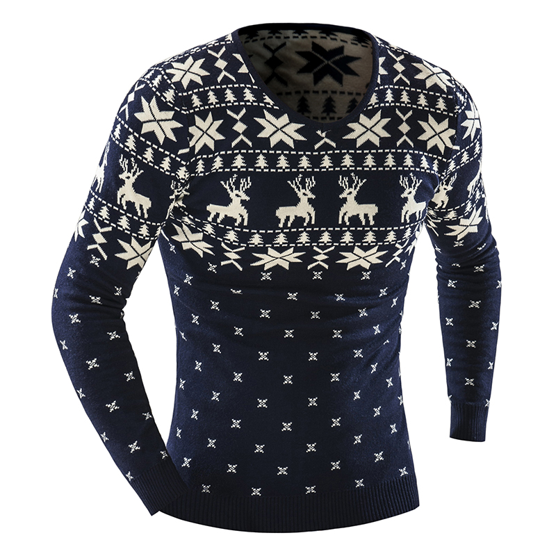 Autumn Winter Pullover Men Christmas  Sweater Jumper V Neck Deer Pattern Slim Fit Knitted Christmas Sweaters Knitwear