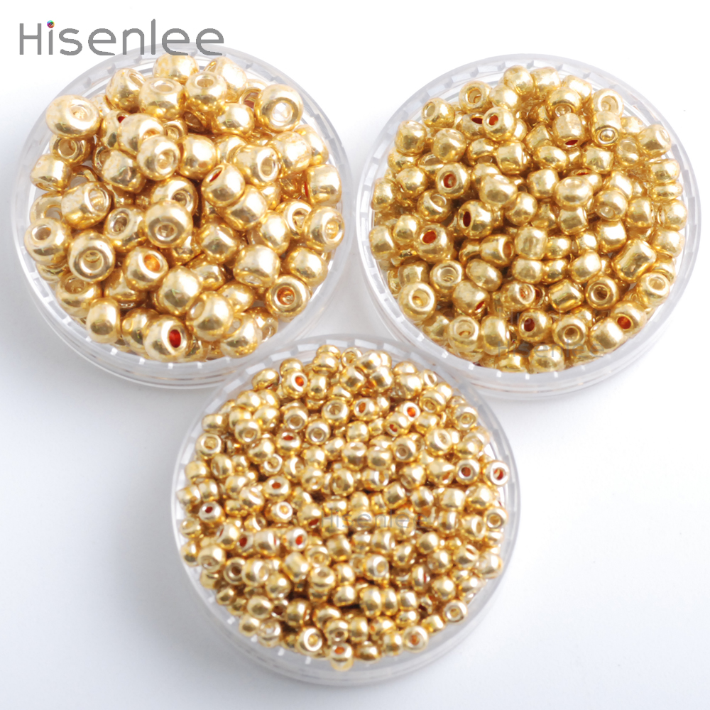 Hisenlee Gold Color 50Gram/Pack 2/3/4mm Crystal Glass Czech Seed Round Spacer Beads For DIY Jewelry Handmade