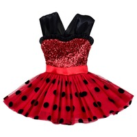 Child Sequin Wave Point Dress Cosplay Miraculous Ladybug Dress