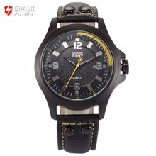 SHARK ARMY Yellow Black 3D Electroplate Plaid Date Quartz Steel Buckle Leather Band Strap Military Sport Men Gift Watches/SAW146