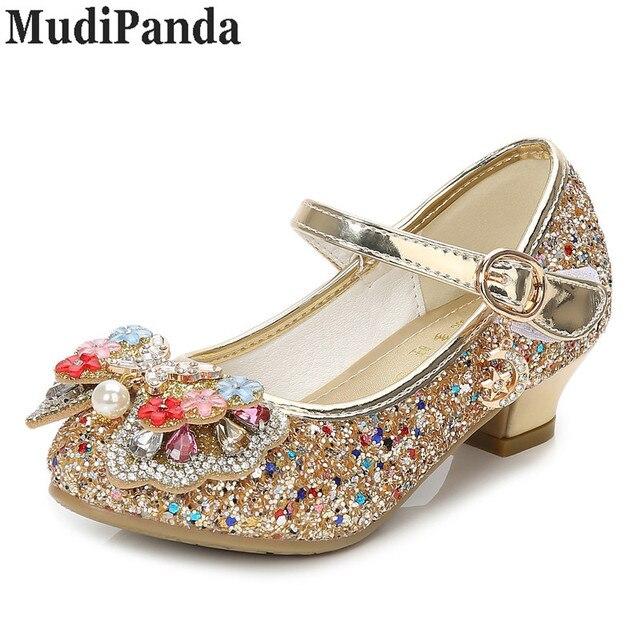 MudiPanda Glitter Children Girls High heel Shoes For Kids Princess Sandals  Bowtie Knot infant Baby Girls