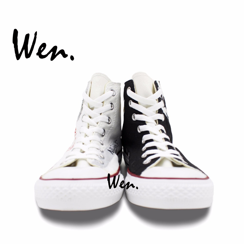 Wen Hand Painted Shoes Design Custom Anime Bleach White Black High Top Men  Women s Canvas Sneakers for Birthday Gifts-in Skateboarding from Sports ... 3fe12afa1cf9
