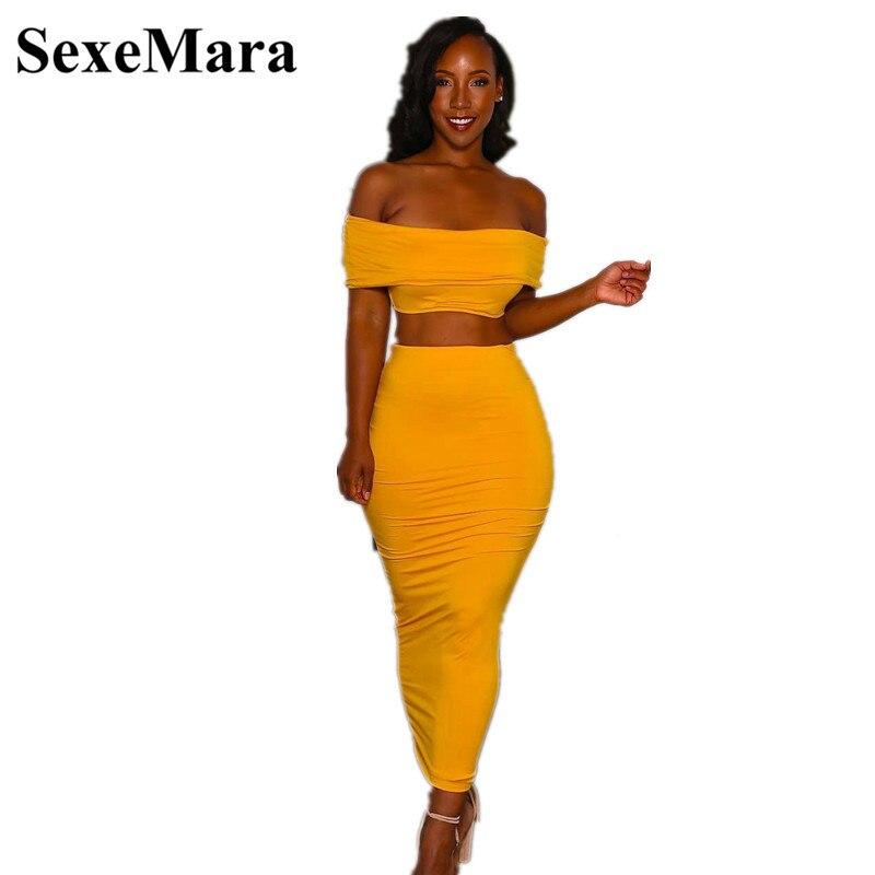 ANJAMANOR Yellow Maxi Bodycon Dress Sexy 2 Piece Set Women Off Shoulder Crop Top And Skirt Club Outfits Matching Sets D34-AZ50