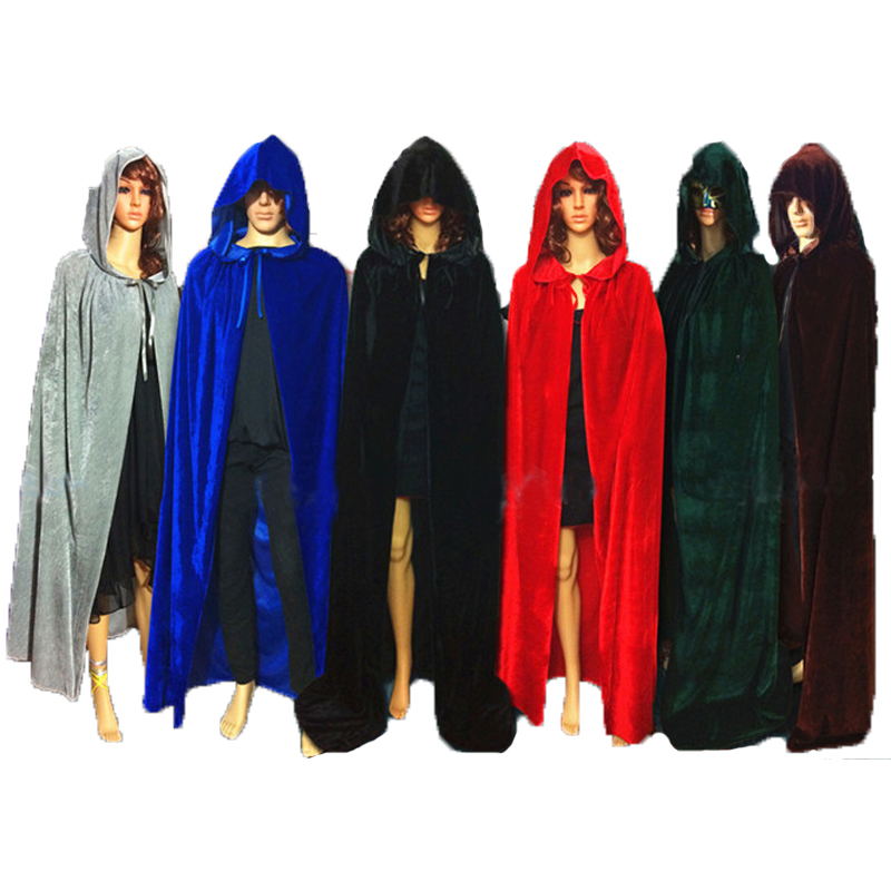 aliexpresscom buy adult gothic hooded velvet cloak wicca robe medieval witchcraft larp cape halloween costumes women men vampire size s m l xl from - Halloween Costumes With A Cape