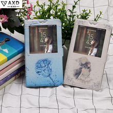 Flip view Window case for ZTE Blade AF3 T221 D3 Q806T X5 L110 A112 Painting fundas Cartoon protective capa cover for S6 Plus S7
