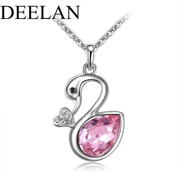e597233971 DEELAN austriaco di cristallo di modo bello Pendente Del Cigno della collana  di colore Dell'