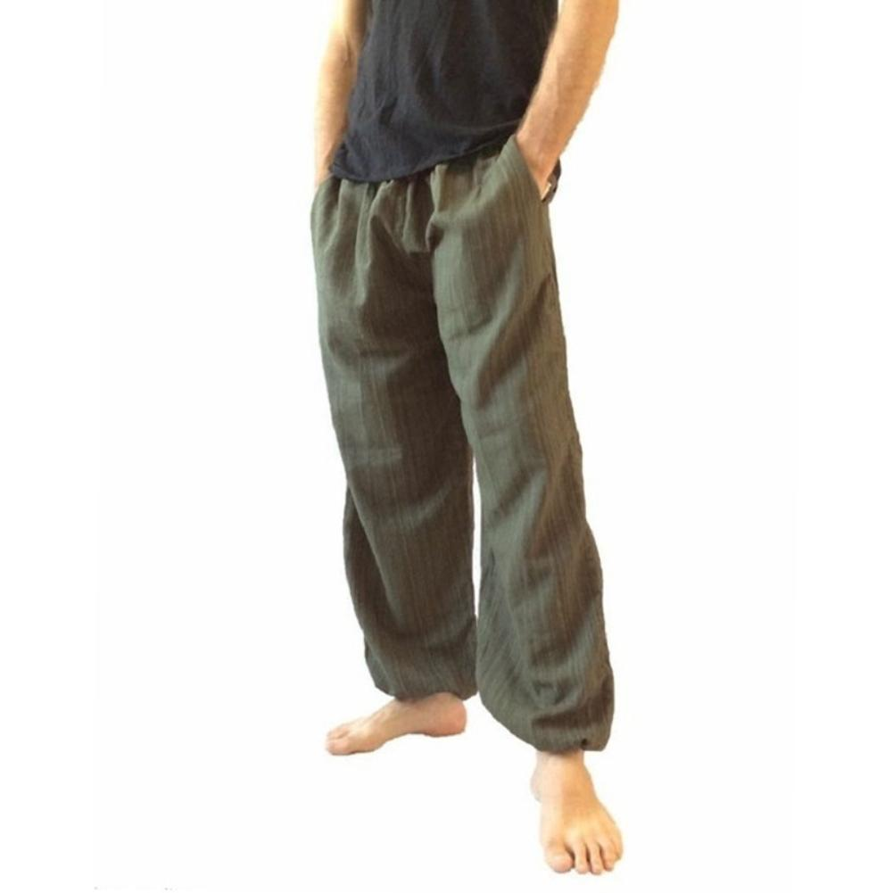 New Plus Size Men Cotton Linen Long Pants Solid Color Wide Leg Loose Casual Trousers