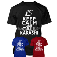 HALTEN SIE RUHE UND RUFEN KAKASHI LUSTIGE NARUTO INSPIRIERT T-shirt Männer 100% Baumwolle Kurzarm Printed T-shirt Lässig Tees