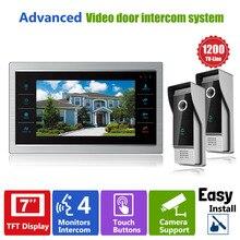 YSECU 7 Inch TFT LCD Color Video Doorphone Doorbell Intercom System Night Vision Touch Key 2 Outdoor 1200TVL Camera+1 Monitor