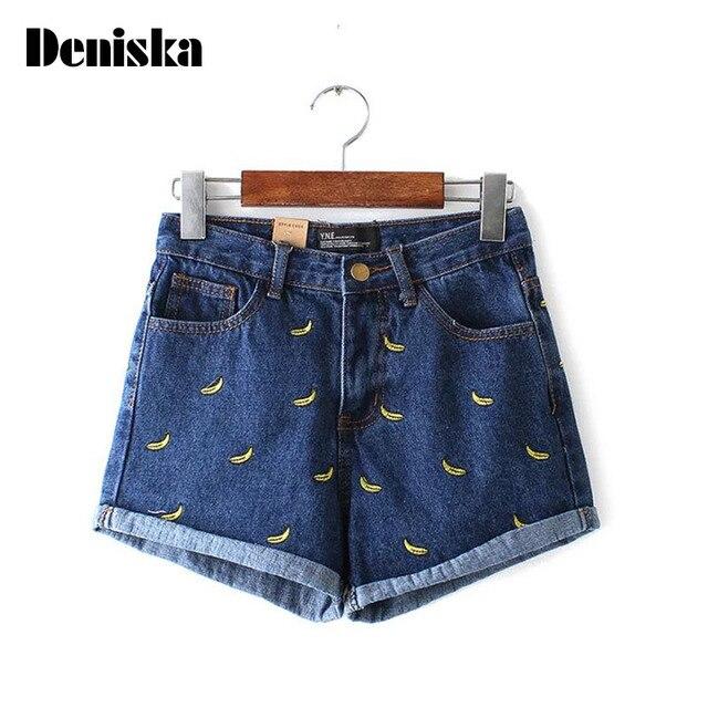 64a38371 Cintura alta Pantalones Cortos de Mezclilla Mujeres Plátano Bordado Jeans Short  Mujer Femme Caliente Coreano de