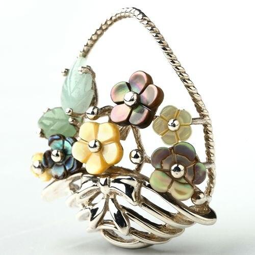 Original personnaliser Onyx sculpté fleur paniers forme Sterling 925 argent pendentif bijoux de mode donner fille saint valentin cadeau