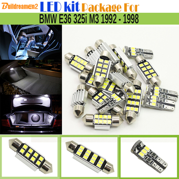 Buildreamen2 Car 2835 SMD No Error LED Bulb Interior LED Kit Package White Dome Map Trunk Light For BMW E36 325i M3 1992-1998 image