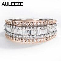 AULEEZE Luxe 1.2 CTTW Natuurlijke Diamant 18 K Wit Rose Goud Ring Echte Diamant Goud Sieraden Verlovingsring Voor Vrouwen Wedding Band