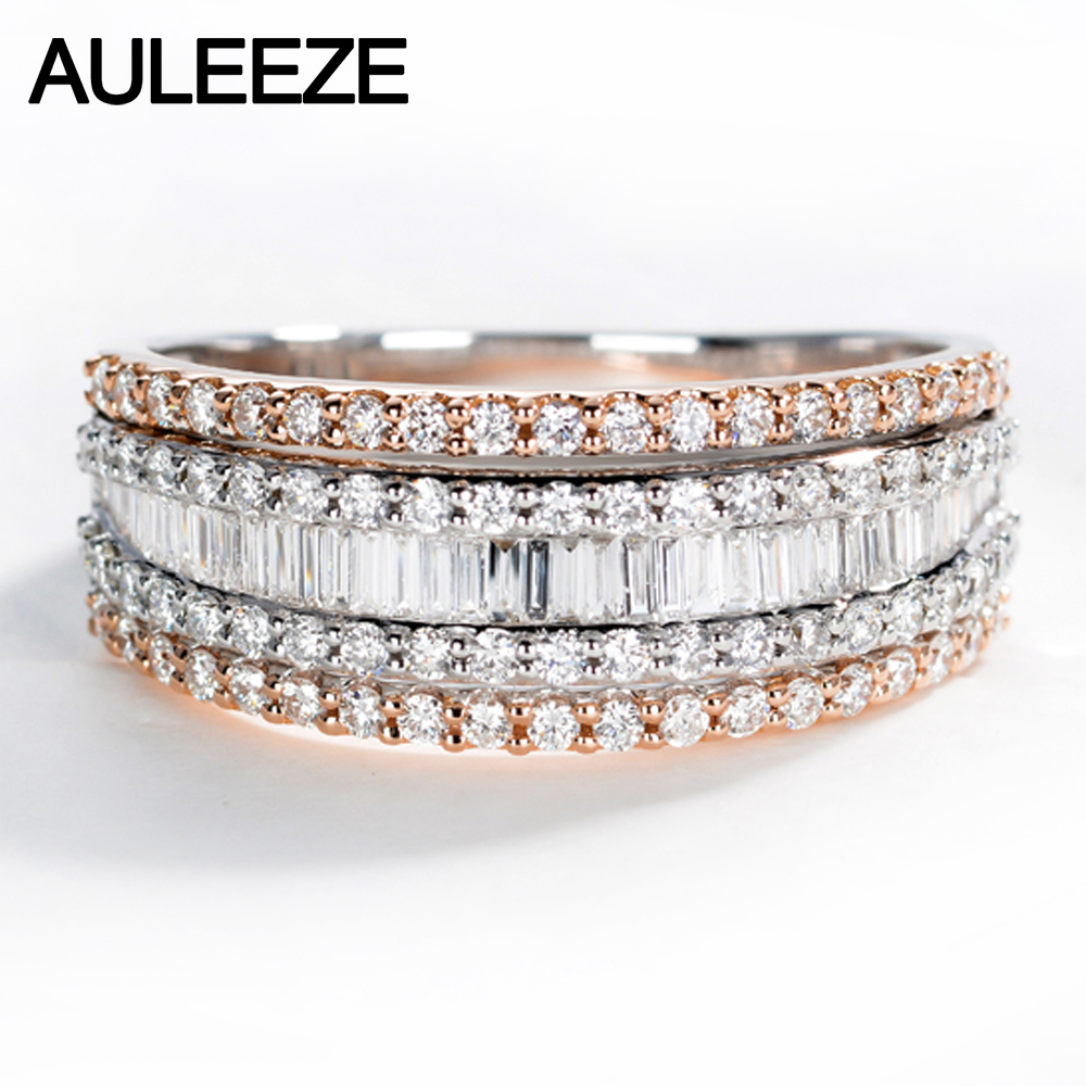AULEEZE Luxury 1.2CTTW Natural Diamond 18K White Rose Gold Ring Real Diamond Gold Jewelry Engagement Ring For Women Wedding Band yoursfs 18k white rose gold plated austria crystal rose engagement ring flower rings women jewelry xmas present