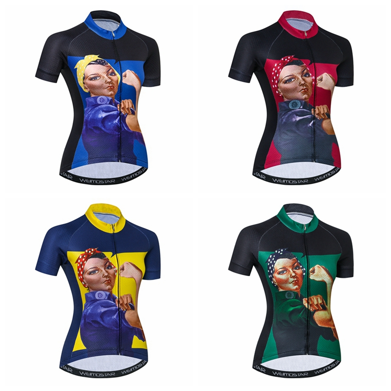 Weimostar femmes cyclisme maillot 2018 ProTeam bras fort maillot ciclismo fille vtt vélo maillot ciclismo vélo vêtements