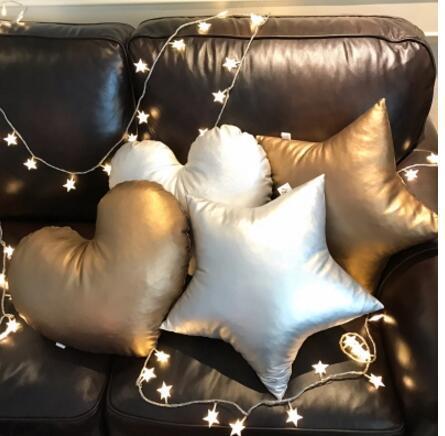 Or/argent gris/noir couleur pu cuir étoile en forme de coussin oreiller décoratif jeter oreiller dos coussin cadeau danniversaire