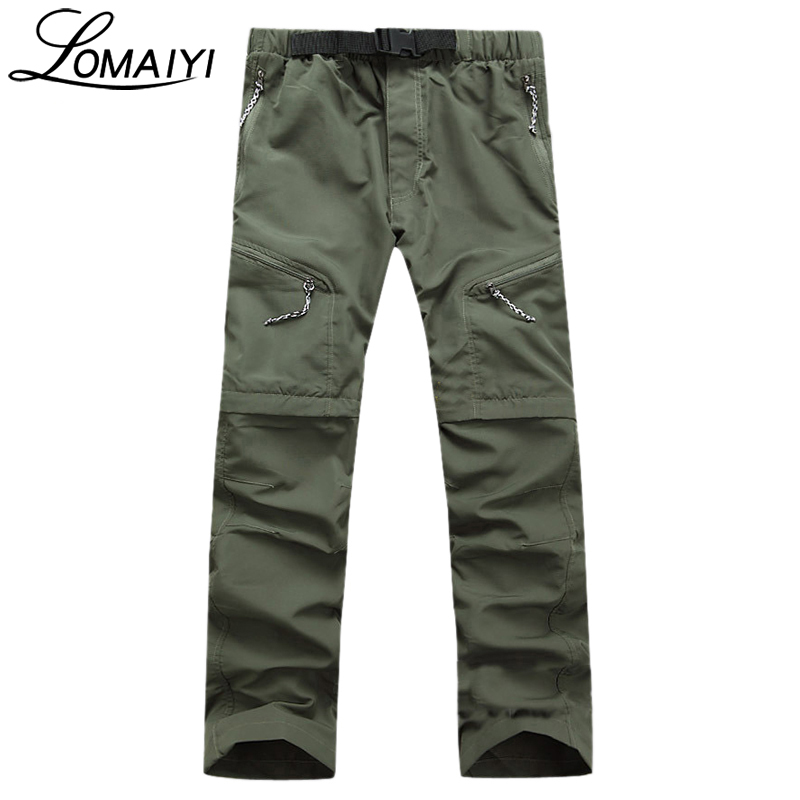 LOMAIYI Detachable Quick Dry Men Pants 2018 Summer Military Active Multifunction Trousers Pockets Mens Casual Cargo Pants,AM001