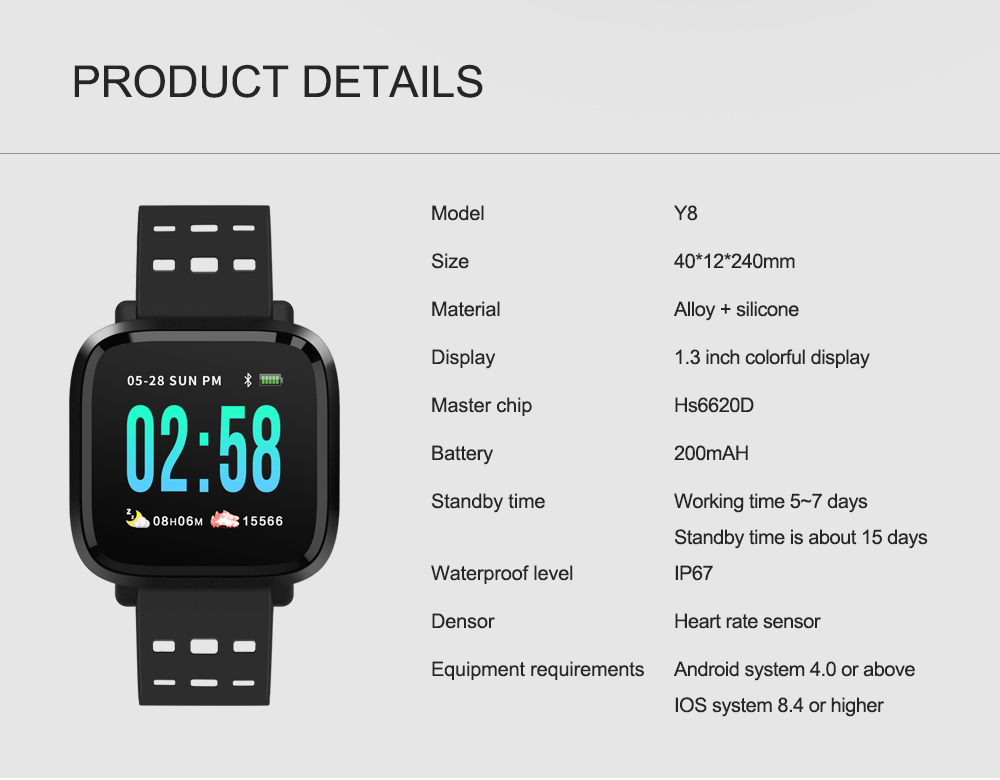 Y8 Smartwatch Wearable Device Bluetooth IP67 Waterproof Pedometer Heart Rate Monitor Color Display Smart Watch For AndroidIOS (16)