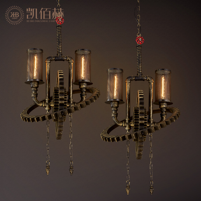 Art iron industry wind loft bar coffee shop personality studio gear double headed Pendant Lights creative restaurant LU6302 ZL30