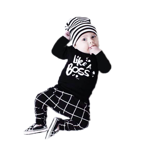 2017 Autumn style Baby Boy Girl Clothes Newborn Long-sleeved Letter Like A Boss T-shirt+Pants 2 Pcs/Suit Infant Clothing Set